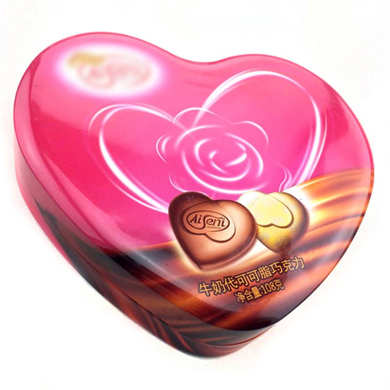 Fødevarekvalitet hjerteformet chokolade slik tin boks