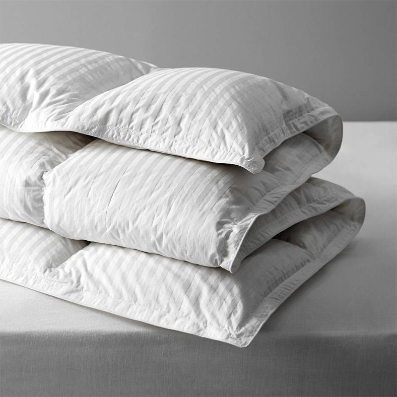 90% Hvid Duck Down Duvet Med 1cm Damask Stripe Fabric