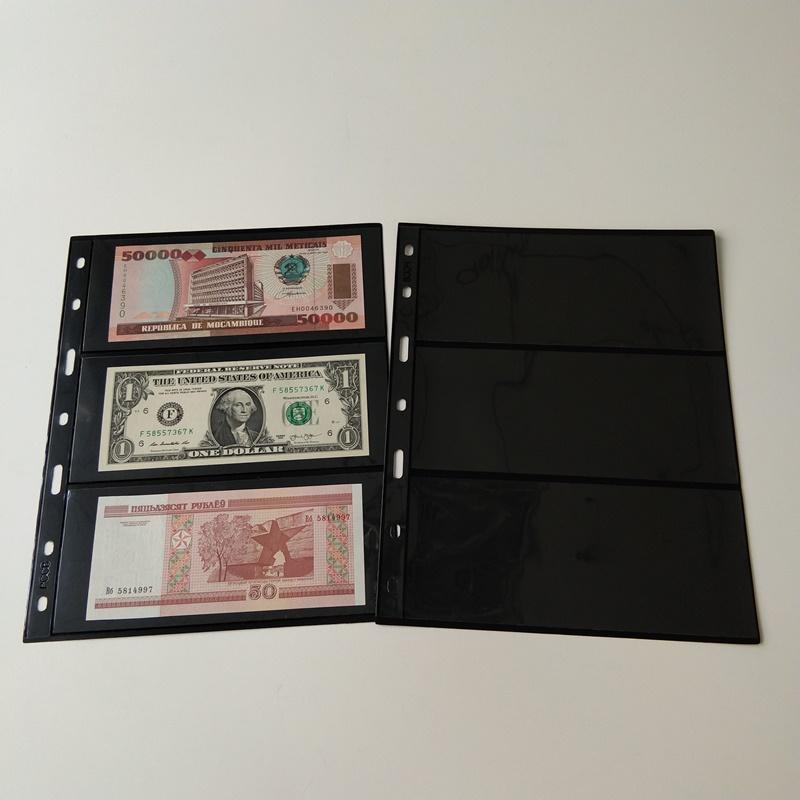 3 Pocket Poly Black Valuta Opbevaringsporteføljesider for Valutaomregninger