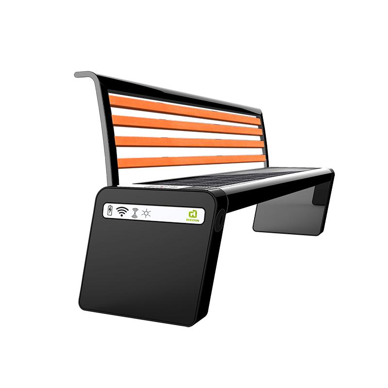 Solar Smart Bench Valgfri cykelstativ og LED-skærm på bagsiden