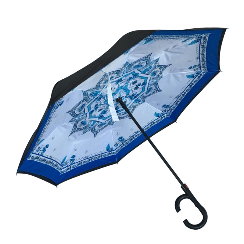 2019 Marketing gaver Auto åben manul tæt på specialudskrivning speciel regn omvendt vindtæt inverteret paraply