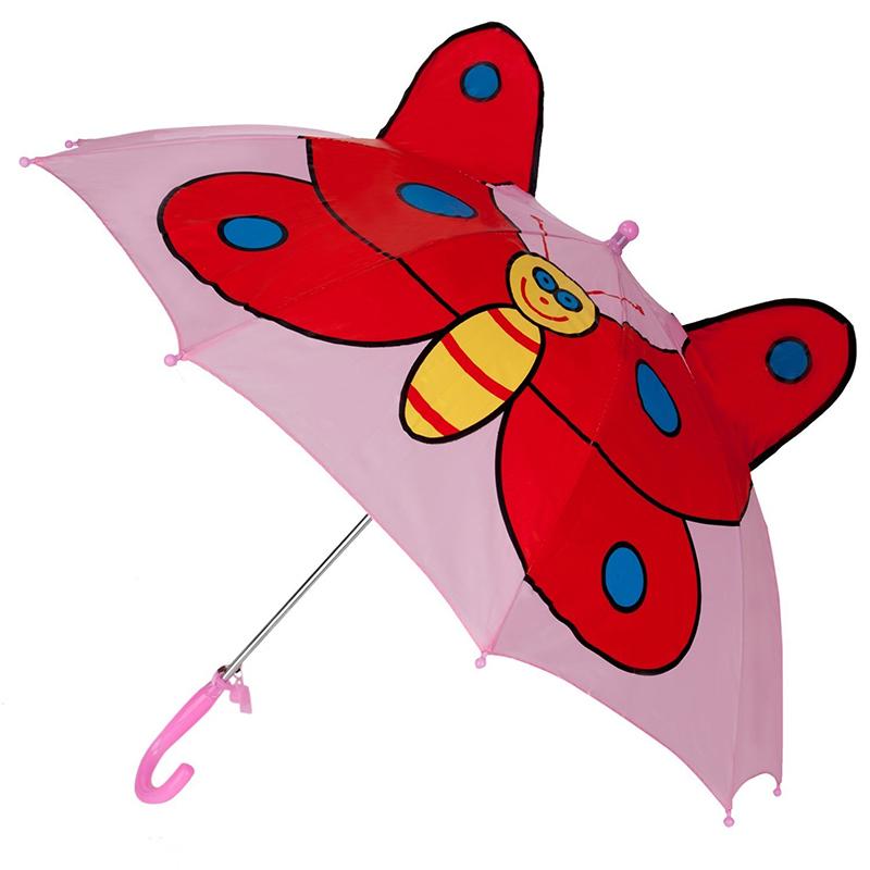 Top salg annoncering pink butterfly billeder dyr børn brugerdefinerede auto åbne lige paraply