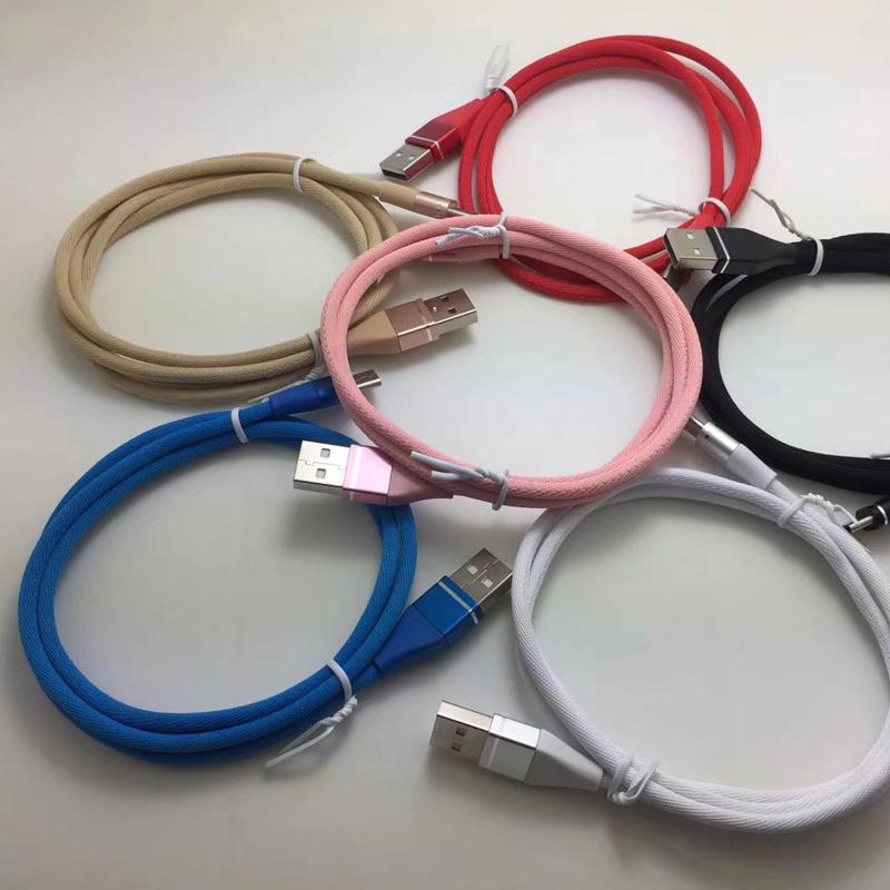 Farverigt Flettet datakabel Hurtig opladningsrunde Aluminiumshus USB-kabel til micro USB, Type C, iPhone lynlading og synkronisering
