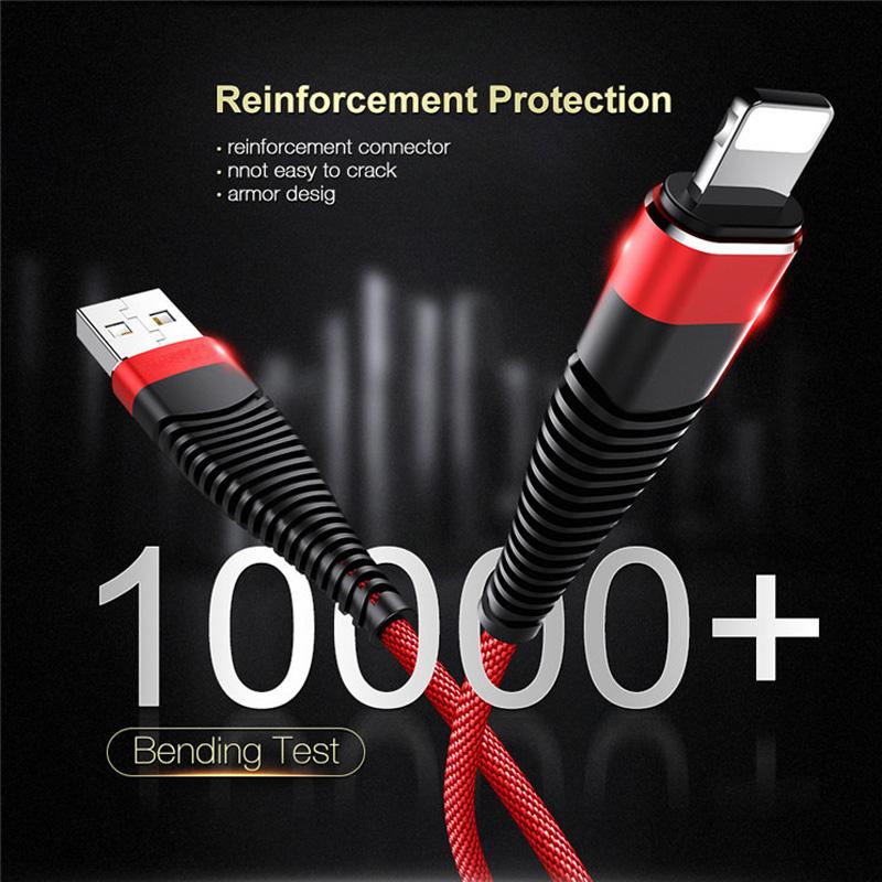 Flettet hurtig opladningsrunde Aluminiumshus Flexbøjning Tangle gratis USB-datakabel til mikro USB, type C, iPhone lynlading og synkronisering