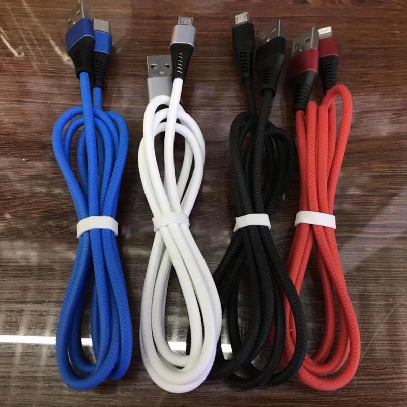 TPE Fast opladningsrunde Aluminiumshus Flex bøjning USB-datakabel til micro USB, Type C, iPhone lynbelastning og synkronisering