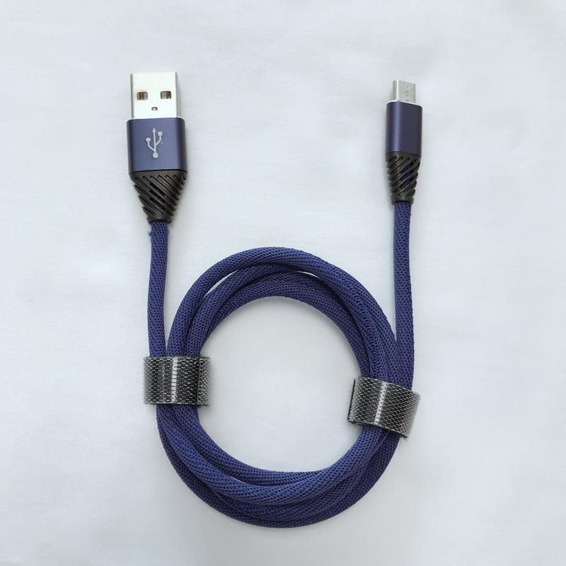 Flettet hurtig opladningsrunde Aluminiumshus Flex bøjning USB-datakabel til mikro USB, Type C, iPhone lynlading og synkronisering