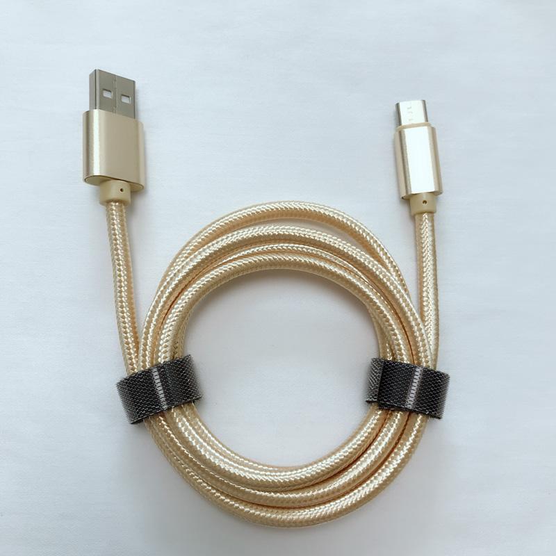 God pris Flettet hurtig opladning Aluminiumshus USB-datakabel til mikro USB, Type C, iPhone lynlading og synkronisering