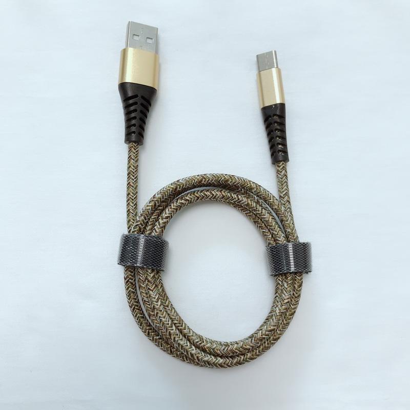 God pris Ny flettet bøjning Hurtig opladningsrunde Aluminiumshus USB-datakabel til mikro USB, type C, iPhone lynlading og synkronisering