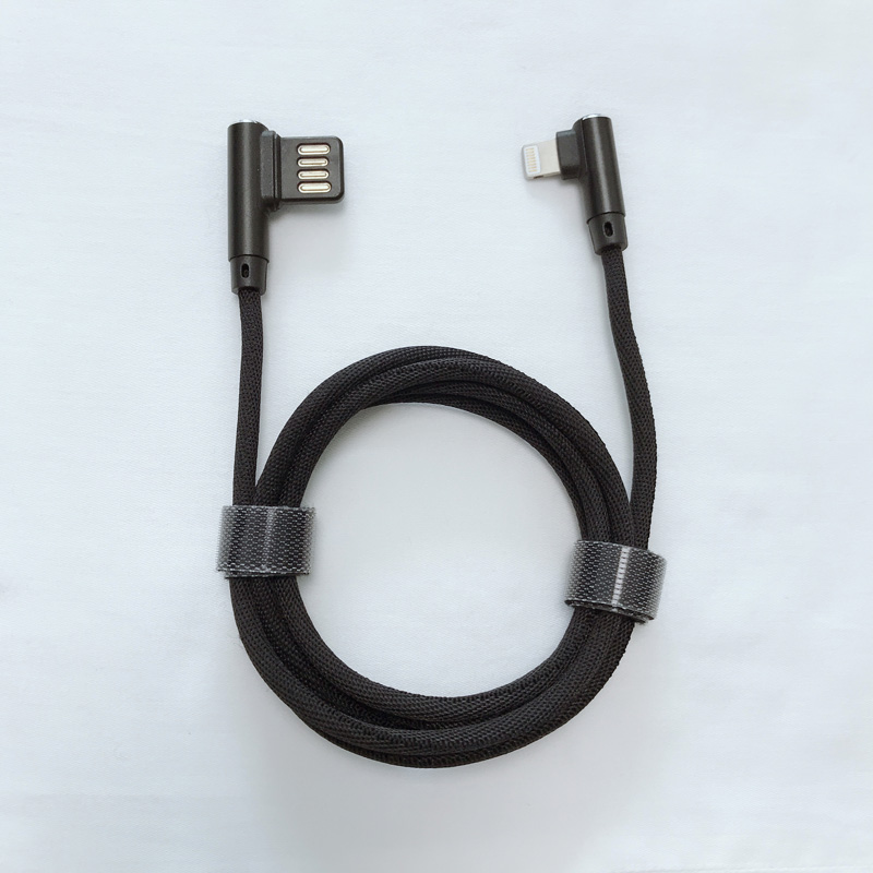 Dual face USB 2.0 Dual højre vinkel Flettet hurtig opladningsrunde Aluminiumshus USB-datakabel til micro USB, type C, iPhone lynlading og synkronisering
