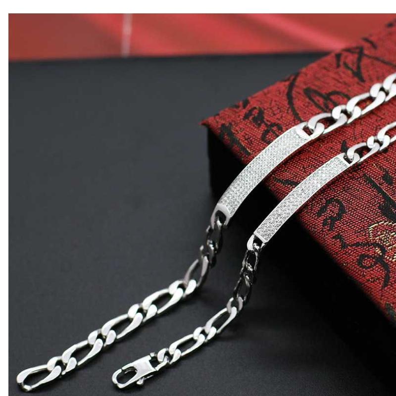 S925 Sølv Mode Mosaik Denim Armbånd Høj kvalitet Atmosfæriske Mænds Armbånd