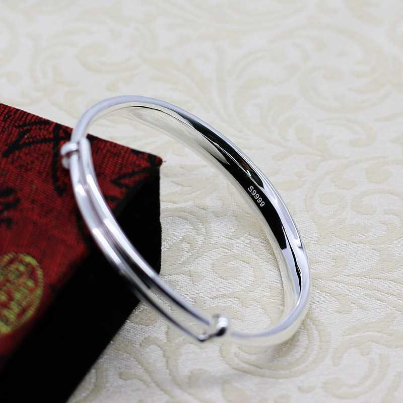 999 Sølv konveks armbånd, tryk og træk live mundstykke armbånd, simple fashionable sølv smykker