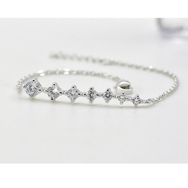 925 Sølv Armbånd Kvinde Simple Søde Krystal Armbånd