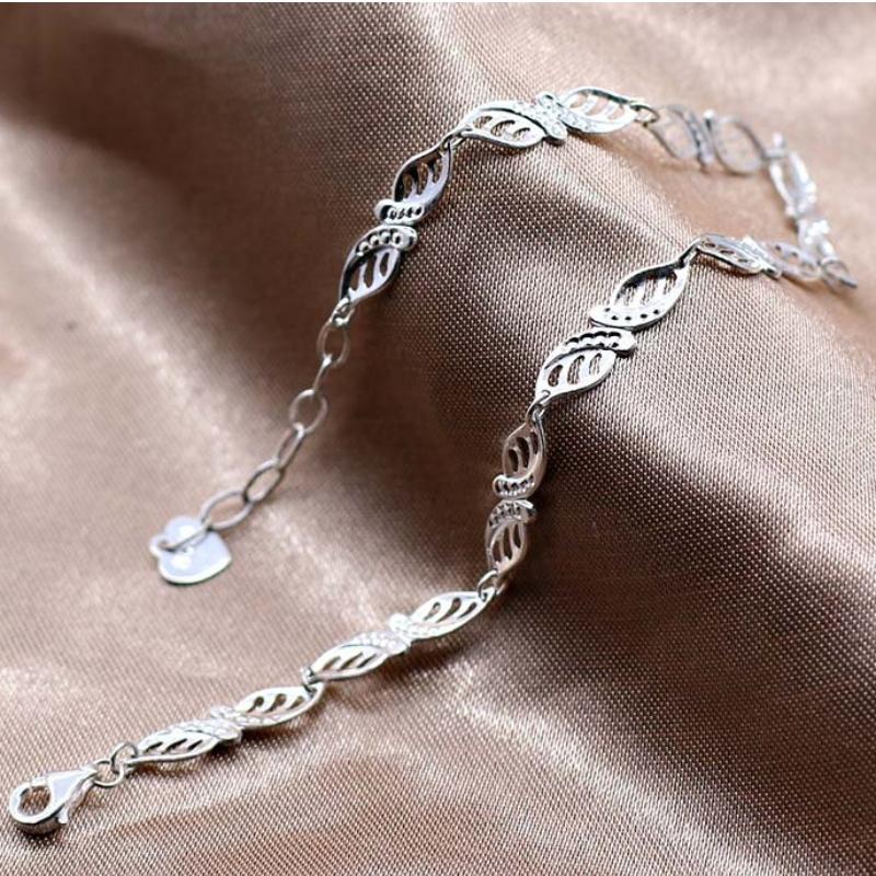 S990 Sølv Armbånd Lys Luksus Fashion Lille Frisk Blad Armbånd