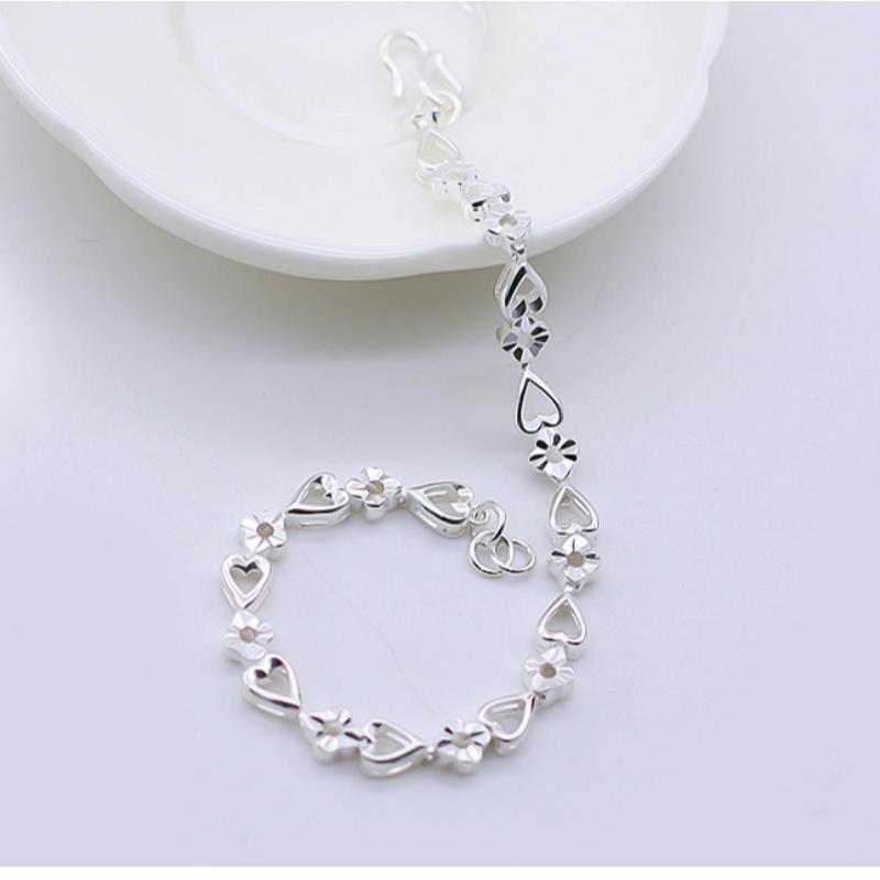 990 sølv mode hjerte til hjerte blomst armbånd temperament sølv armbånd