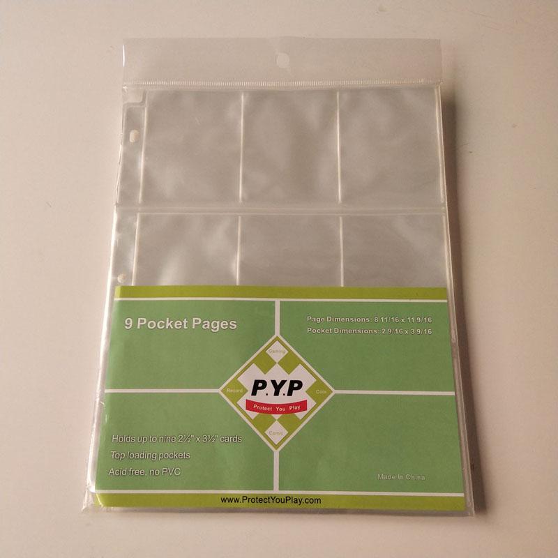 9 Pocket Poly Gaming Card Holder Side Beskyttere Plastik Binder Sheet