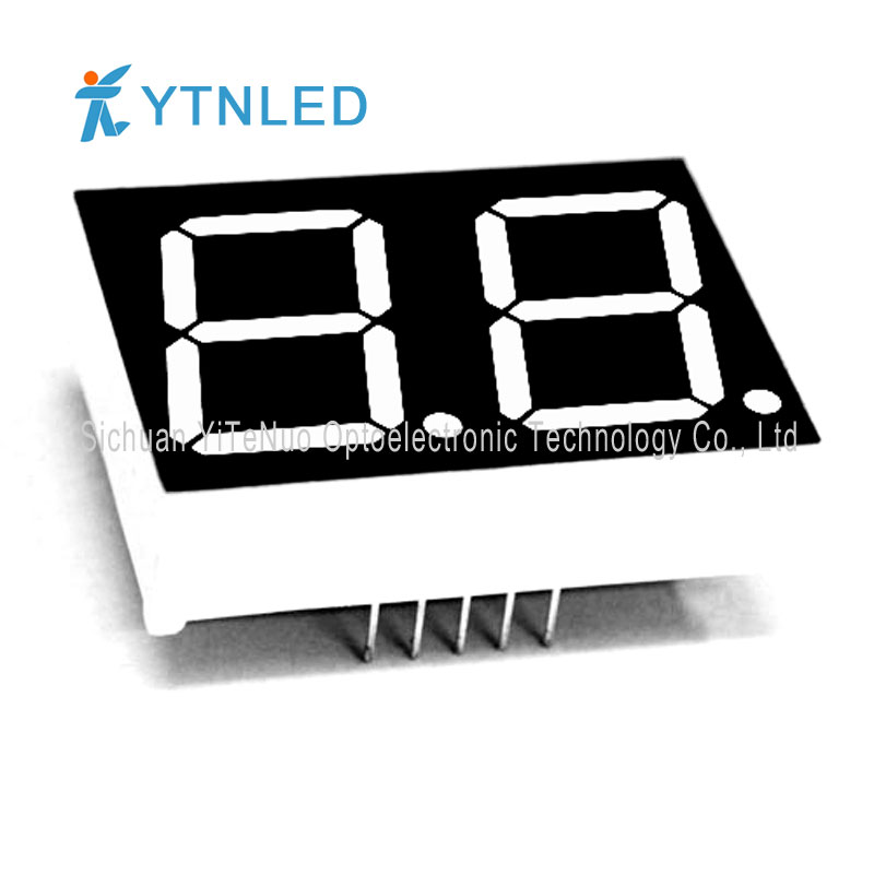 0,8 tommer 2-cifret rødt 7-segment LED-display, digitalt rør