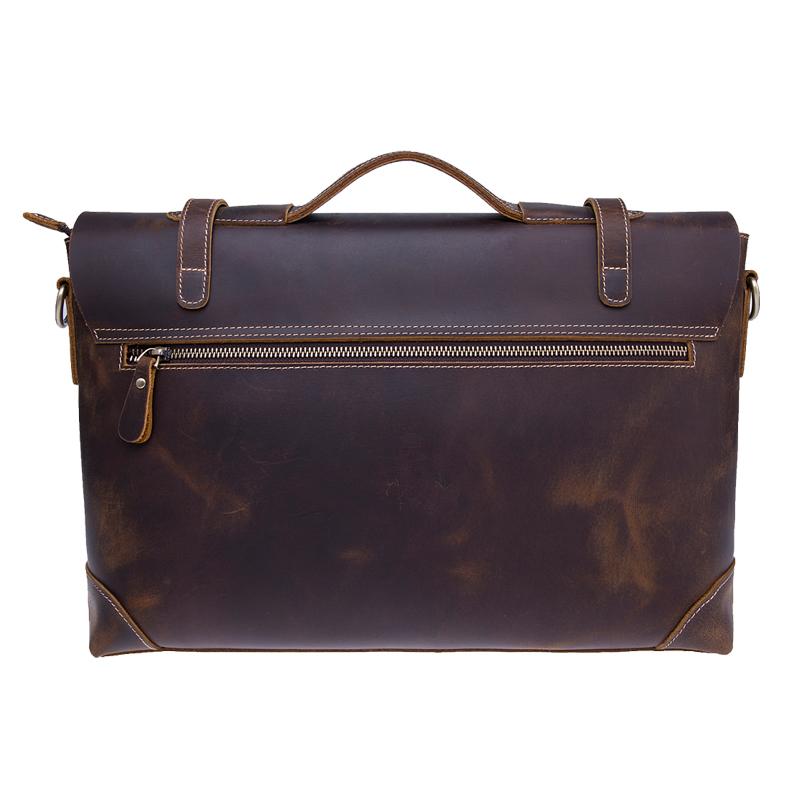 Høj kvalitet skør hest ægte læder mænd laptop messenger taske skulder tasker