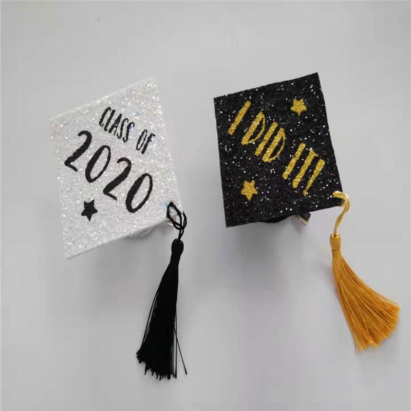 Hvid gradhætte med forskel Farve Glitter Graduation Party Hat