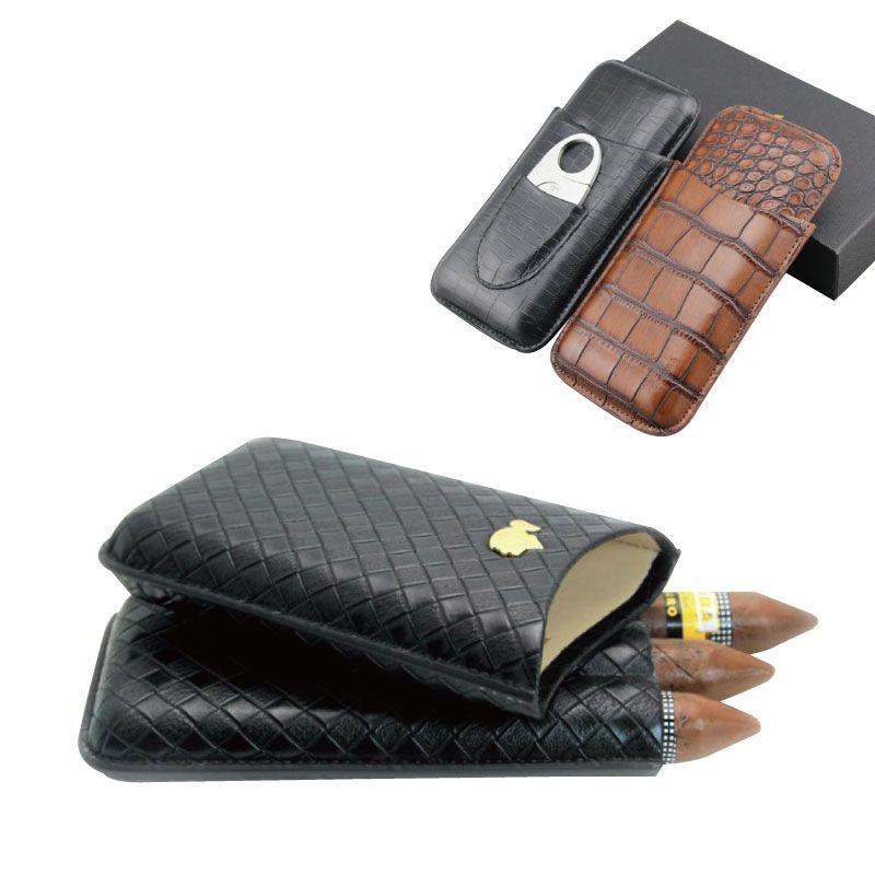 Rejse 3 tæller Portable Læder Cigar Sag