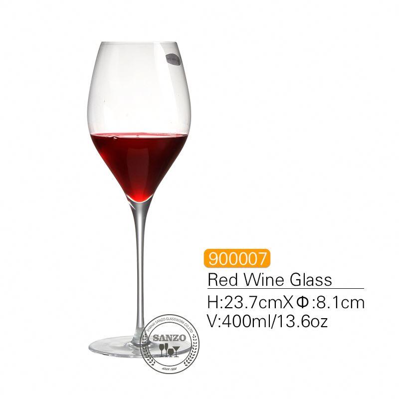 SANZO sort stilk Lismore ballon vinglas håndlavet blyfri krystal indgraverede briller Tykke briller